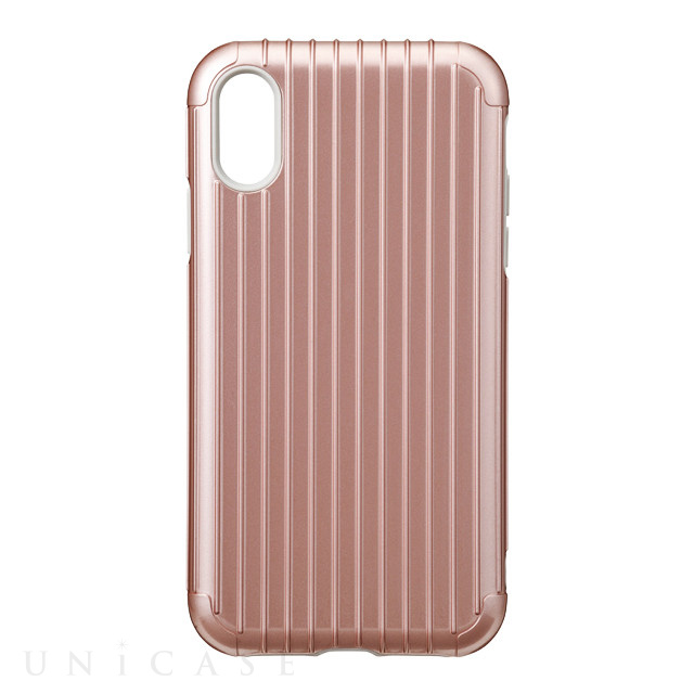 "【iPhoneXR ケース】""Rib"" Hybrid Shell case (Rose Gold)"