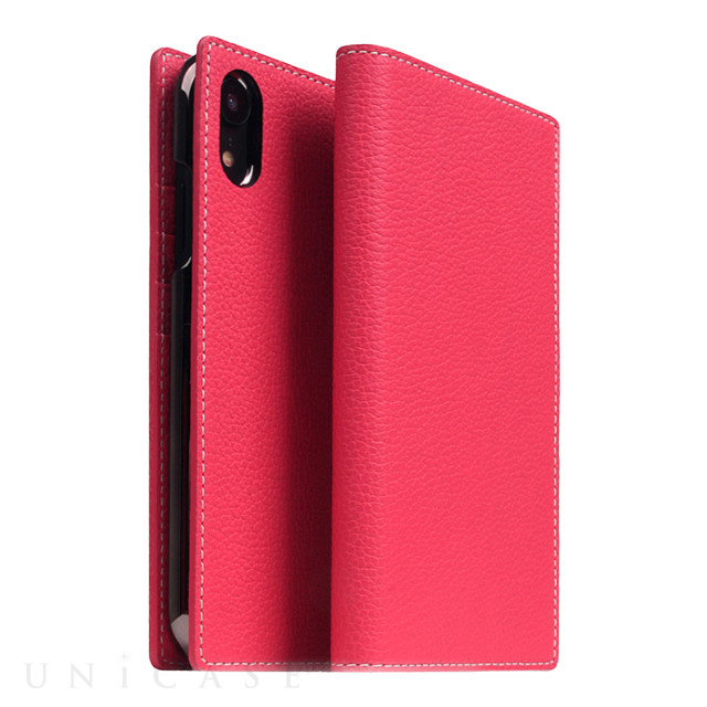【iPhoneXR ケース】Full Grain Leather Case (Pink Rose)