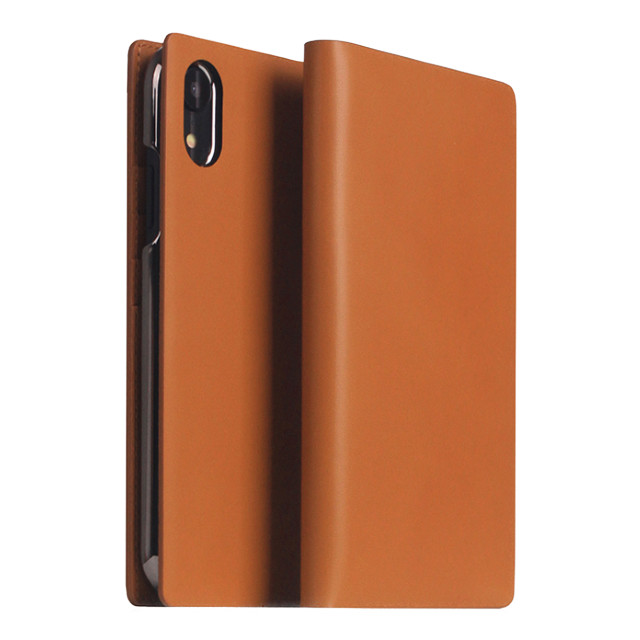 【iPhoneXR ケース】Calf Skin Leather Diary (キャメル)