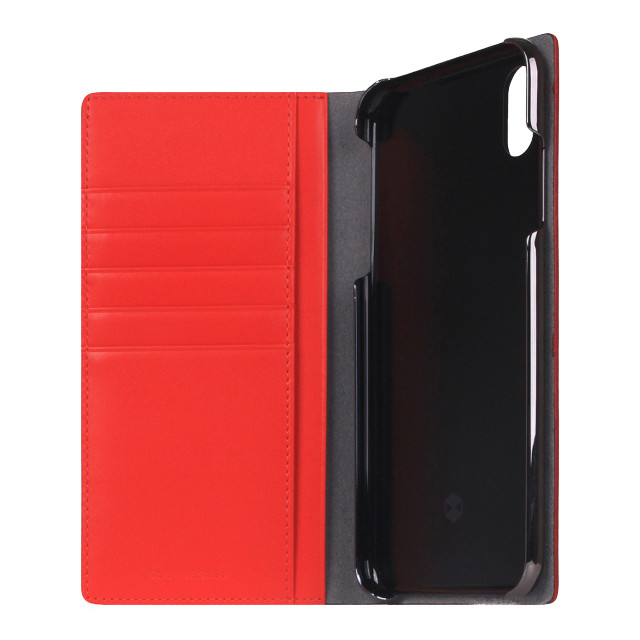 【iPhoneXS Max ケース】Calf Skin Leather Diary (レッド)