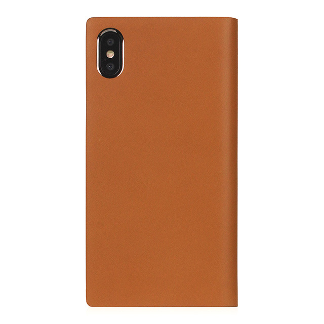 【iPhoneXS Max ケース】Calf Skin Leather Diary (キャメル)