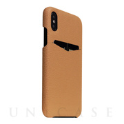 【iPhoneXS/X ケース】Full Grain Leather Back Case (Caramel Cream)