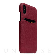 【iPhoneXS/X ケース】Full Grain Leather Back Case (Burgundy Rose)