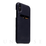 【iPhoneXS/X ケース】Full Grain Leather Back Case (Black Blue)