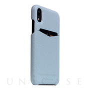 【iPhoneXR ケース】Full Grain Leather Back Case (Powder Blue)