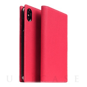 【iPhoneXS Max ケース】Full Grain Leather Case (Pink Rese)