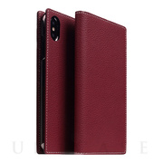 【iPhoneXS Max ケース】Full Grain Leather Case (Burgundy Rese)