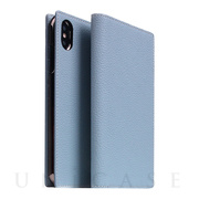 【iPhoneXS Max ケース】Full Grain Leather Case (Powder Blue)