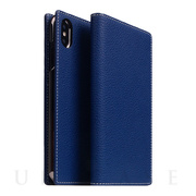 【iPhoneXS Max ケース】Full Grain Leather Case (Navy Blue)