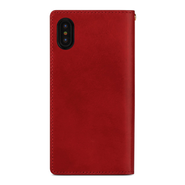 【iPhoneXS Max ケース】ITALY COW LEATHER CASE (レッド)