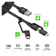 Essential C10i3 USB-C+Micro-B5-pin+USB Lightning to USB 2.0 Cable (Black)