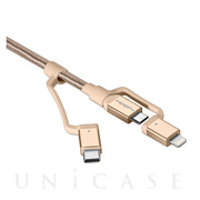 Essential C10i3 USB-C+Micro-B5-pin+USB Lightning to USB 2.0 Cable (Gold)