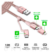 Essential C10i3 USB-C+Micro-B5-pin+USB Lightning to USB 2.0 Cable (Rose Gold)