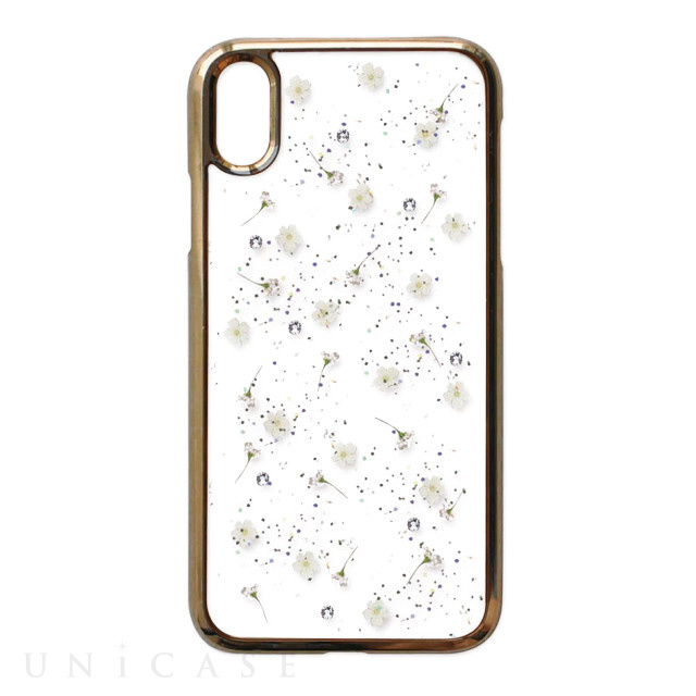【iPhoneXR ケース】Pressed flower case (whitish flowers)