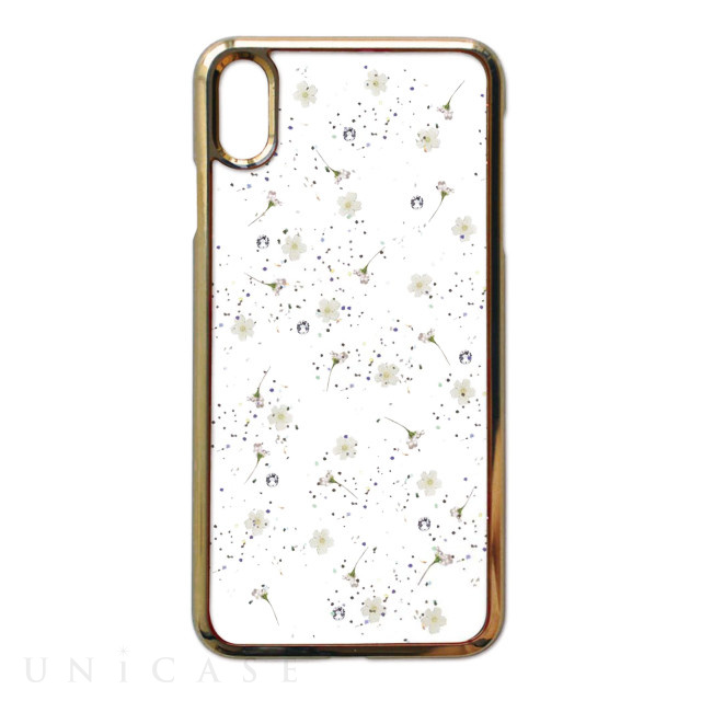 【iPhoneXS Max ケース】Pressed flower case (whitish flowers)