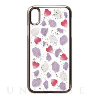 【iPhoneXS/X ケース】Pressed flower case (wine color flowers)