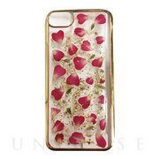 【iPhone8/7/6s/6 ケース】Pressed flower case (Rose red petals_Gold)
