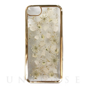 【iPhone8/7/6s/6 ケース】Pressed flower case (White petals_Gold)