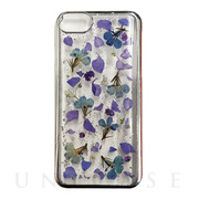 【iPhone8/7/6s/6 ケース】Pressed flower case (Purple flower_Silver)