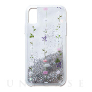 【iPhoneXS/X ケース】Liquid case (continuous flowers-glitter)