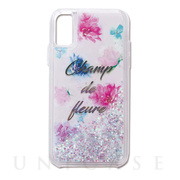 【iPhoneXS/X ケース】Liquid case (studded flowers-glitter)