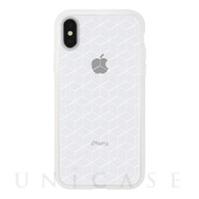 【アウトレット】【iPhoneXS/X ケース】MONOCHROME CASE for iPhoneXS/X (Hexagon Line White)