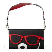 【iPhone8/7/6s/6 ケース】SUNGLASSES BEAR 手帳型ケース (RED)