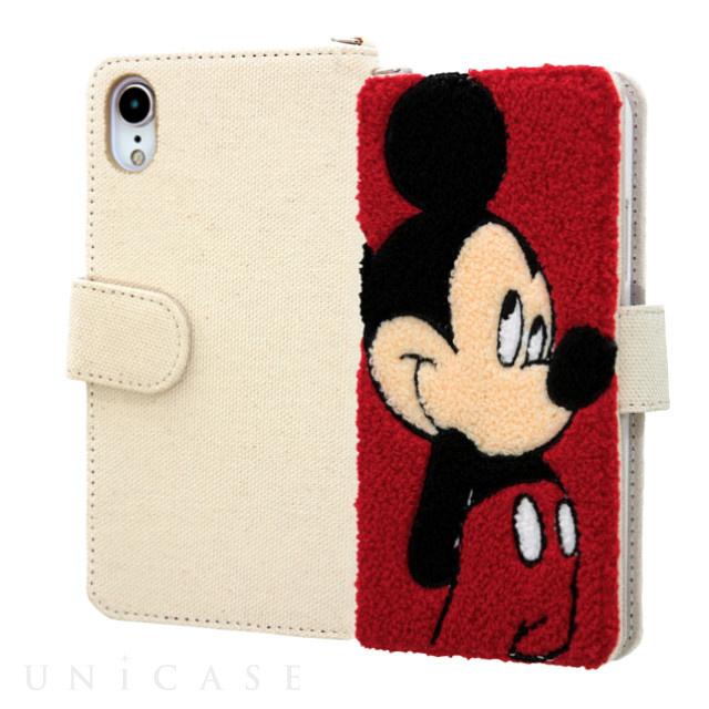 911d6bbf67 ... 【iPhoneXR ケース】ディズニーキャラクター/サガラ刺繍 手帳型ケース 帆布 (ミッキー) ...