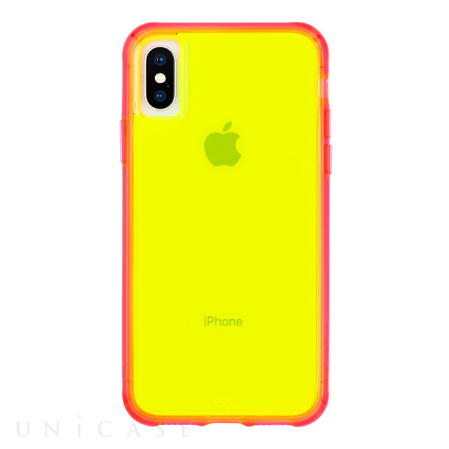 【iPhoneXS/X ケース】Tough Clear (Neon Green/Pink Neon)