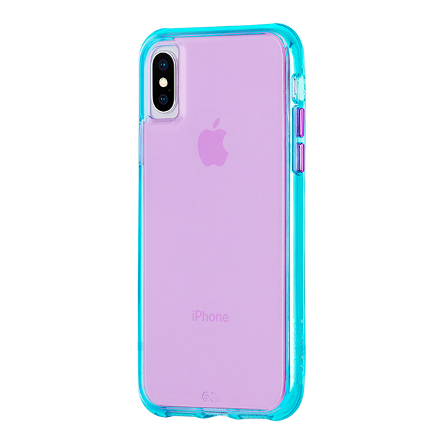 【iPhoneXS/X ケース】Tough Clear (Neon Turquoise/Purple)