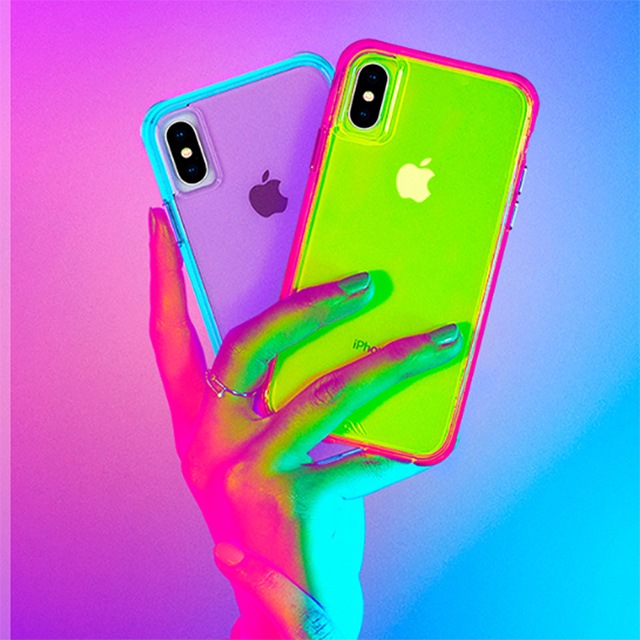 【iPhoneXS/X ケース】Tough Clear (Neon Turquoise/Purple)サブ画像