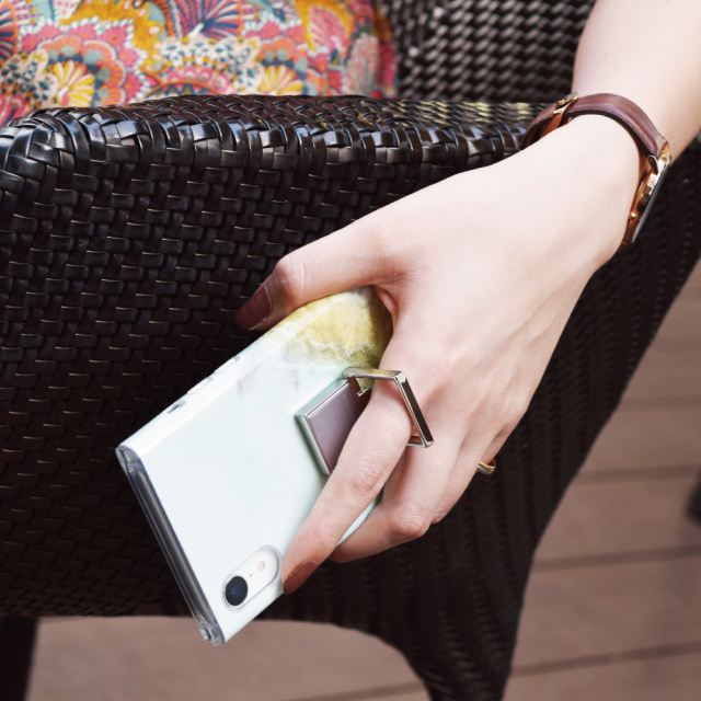 Square Smart Phone Ring (Silver Black)サブ画像