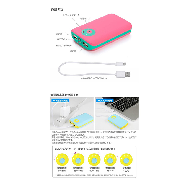 POP'n Charge モバイルバッテリー 7800mAh (イエロー×ピンク)サブ画像