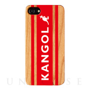 【iPhone8/7/6s/6 ケース】KANGOL ウッドケース [KANGOL BOX LOGO(RED)]