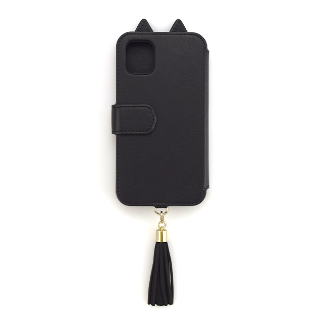 【iPhone11 Pro ケース】Tassel Tail Cat Flip Case for iPhone11 Pro (black)