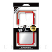 【iPhone11 Pro ケース】背面型繊維ガラスケース HYBRID SQUARE (Clear Red)