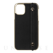 【iPhone11 ケース】INLAY WRAP WITH STRP WITH SPADES -black crumbs