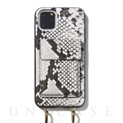 【iPhone11 Pro Max ケース】Crossbody Case Set Gray Python Leather
