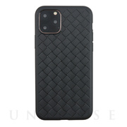 【iPhone11 Pro ケース】WEAVE TEXTURE BACK SHELL (Black)