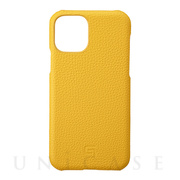 【iPhone11 Pro ケース】Shrunken-Calf Leather Shell Case (Yellow)