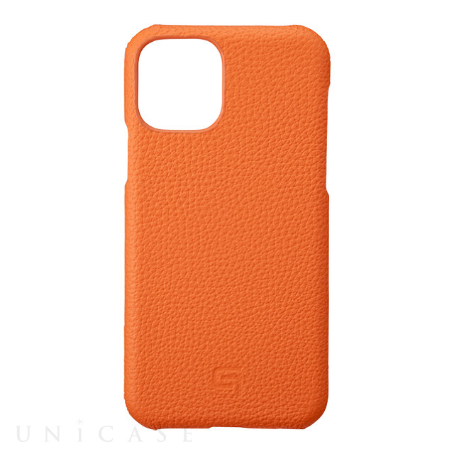 【iPhone11 Pro ケース】Shrunken-Calf Leather Shell Case (Orange)