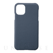【iPhone11 ケース】Shrunken-Calf Leather Shell Case (Navy)