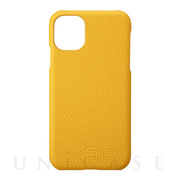 【iPhone11 ケース】Shrunken-Calf Leather Shell Case (Yellow)