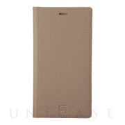 【iPhone11 ケース】Shrunken-Calf Leather Book Case (Taupe)