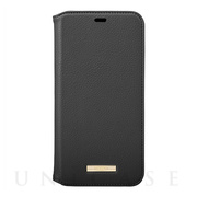 "【iPhone11 Pro Max ケース】""Shrink"" PU Leather Book Case (Black)"