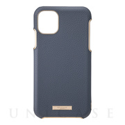 "【iPhone11 Pro Max ケース】""Shrink"" PU Leather Shell Case (Navy)"