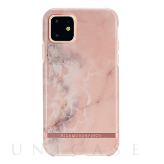 【iPhone11 ケース】Pink Marble - Rose gold details