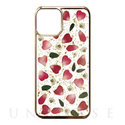 【iPhone11 Pro ケース】Pressed flower case (Rose red petals_Gold)