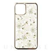 【iPhone11 Pro ケース】Pressed flower case (White petals_Gold)