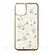 【iPhone11 ケース】Pressed flower case (White petals_Gold)